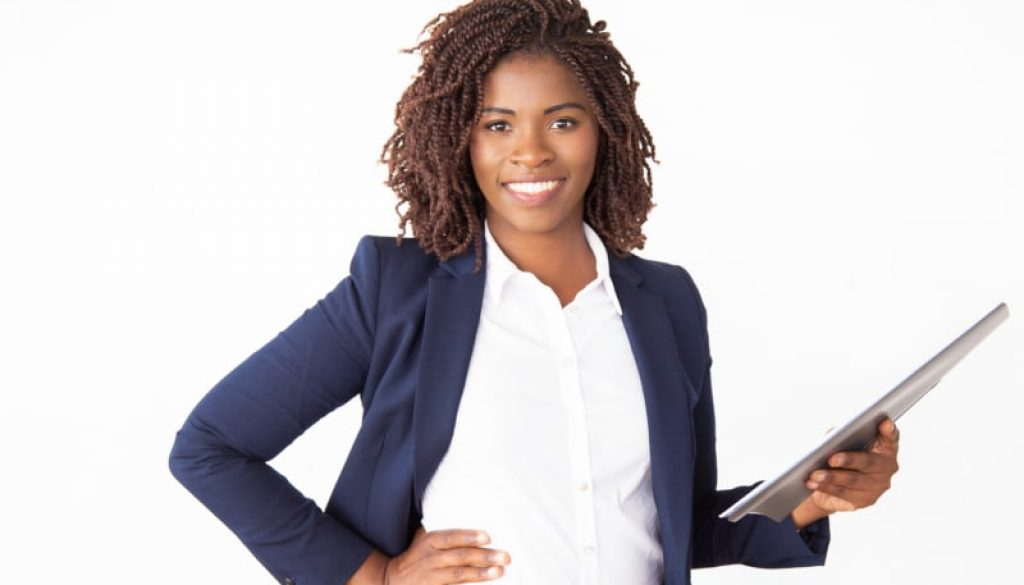 Happy female professional holding documents